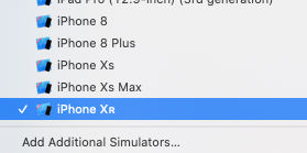 The device picker menu with iPhone XR selected