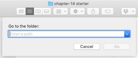 The 'Go to the folder:' dialog box