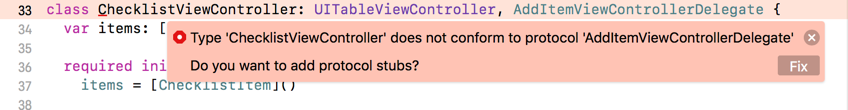 Xcode warns about not conforming to protocol