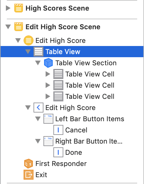 The table view has a section with three static cells