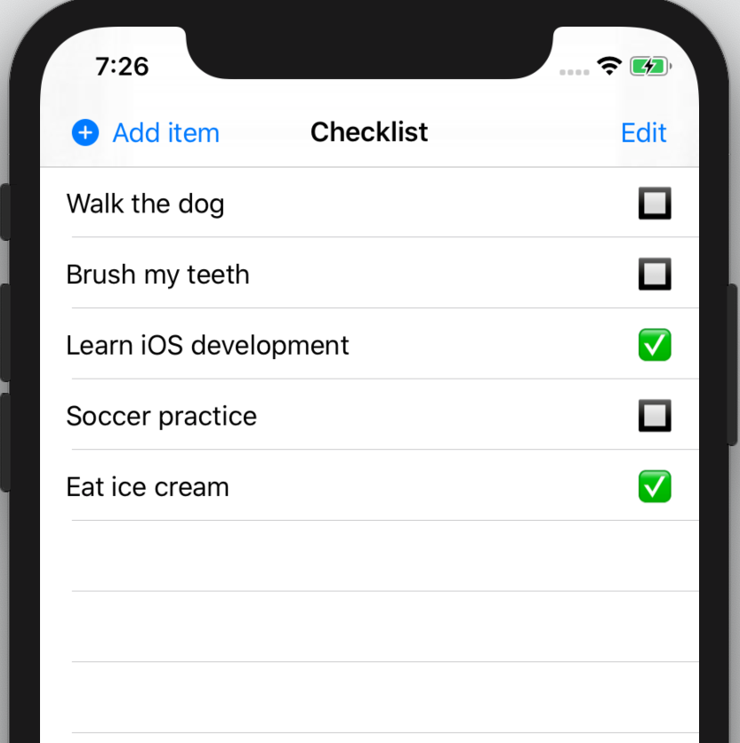The checklist with an inline navigation bar title