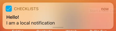 The local notification message