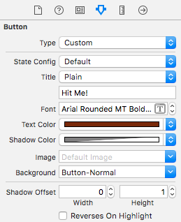 The attributes for the Hit Me button in the default state