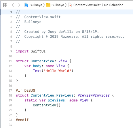 The Editor in a newly created Single View Application project