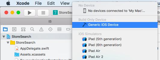 Selecting Generic iOS Device
