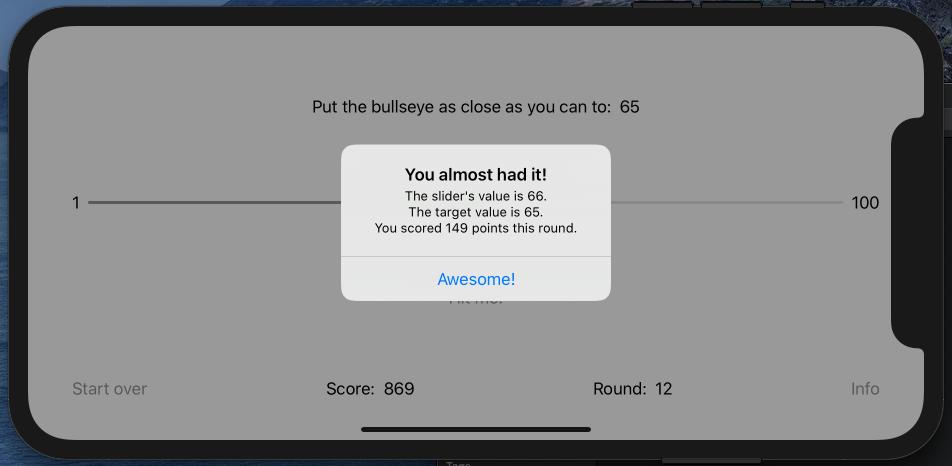 The pop-up showing that the player got 149 points for missing the target by one unit