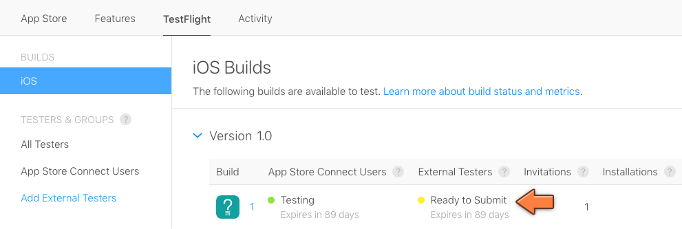 The build is ready for beta review