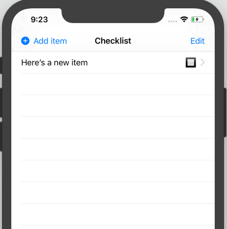 The checklist with a newly-created item