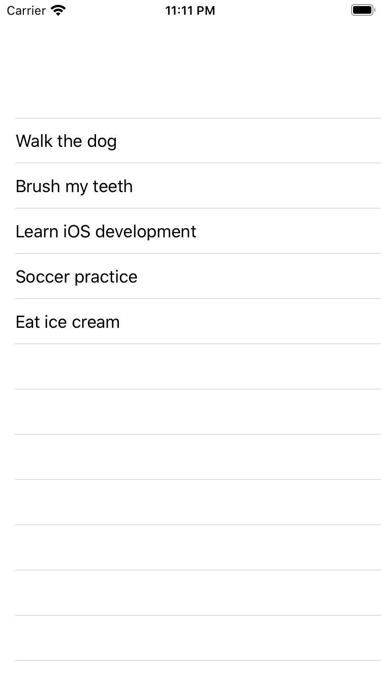The list, now contained within a navigation view