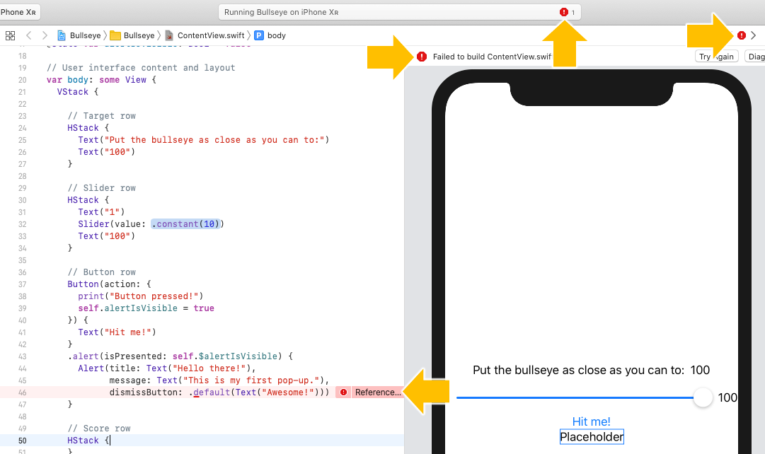 Xcode showing error indicators everywhere after being presented with an empty HStack