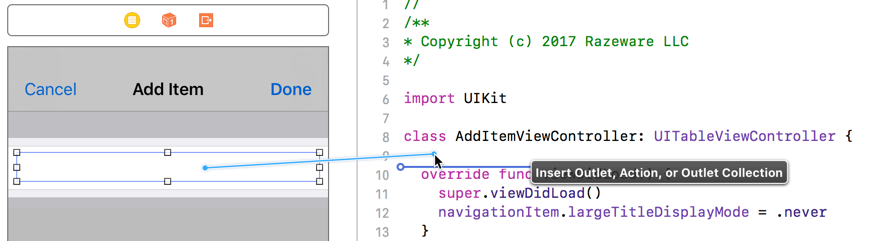 Control-dragging from the text field into the Swift file