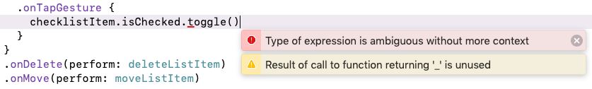 Two errors appear when you change the call to onTapGesture()