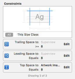 The Name label's constraints in the Size inspector