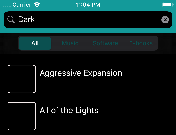 The pop-up view in dark mode