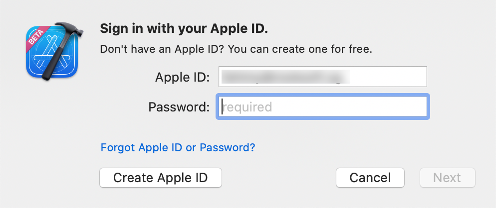 Adding your Apple ID to Xcode