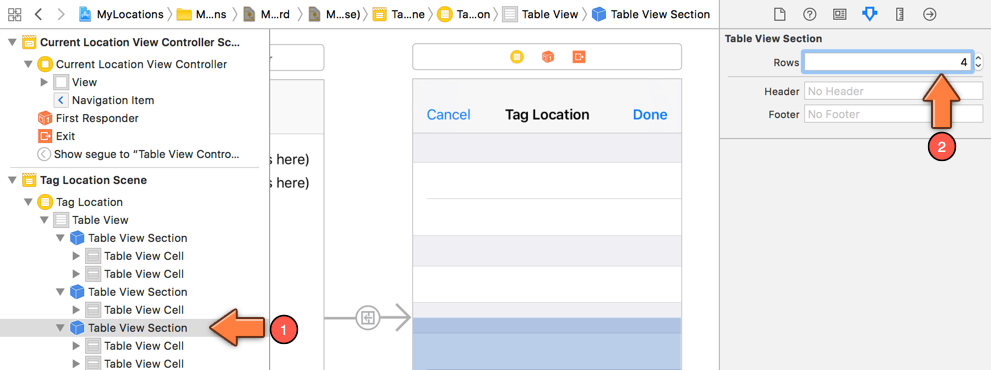 Adding a row to a table view section