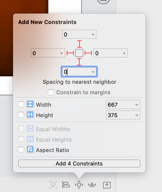 Using the Add New Constraints menu to position the background image