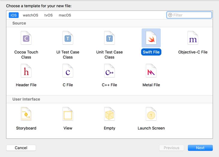 Choosing the Swift File class template