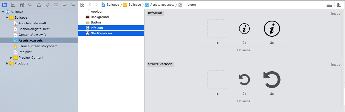 InfoIcon and StartOverIcon in the asset catalog
