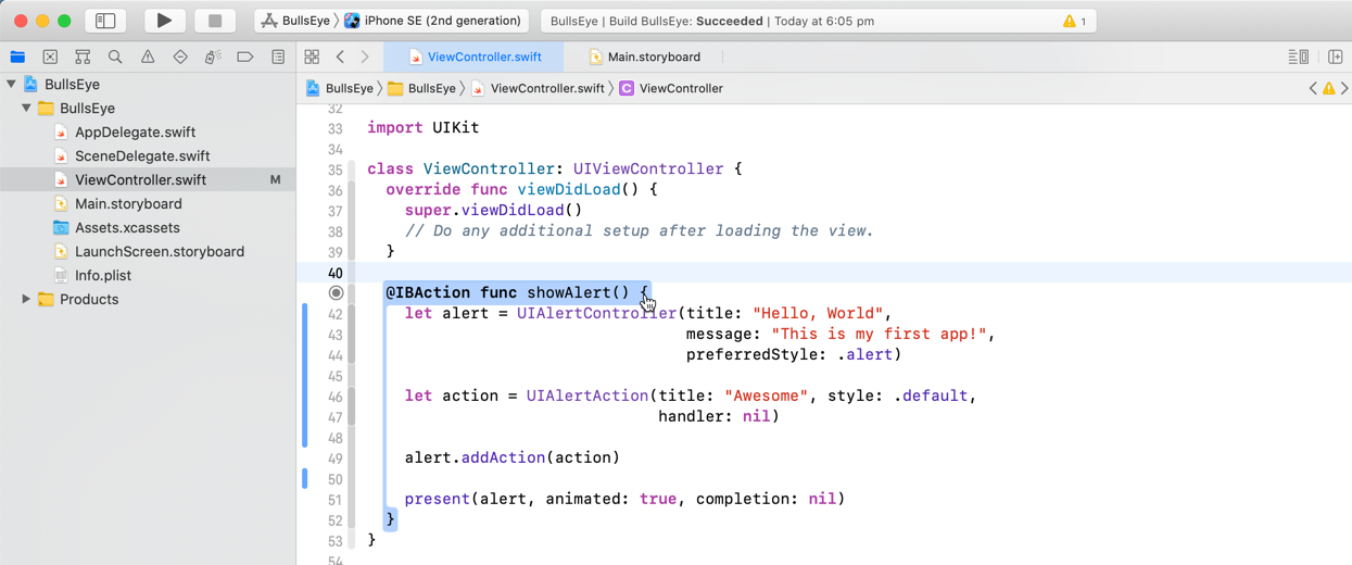 Xcode shows you the complete block for curly brackets