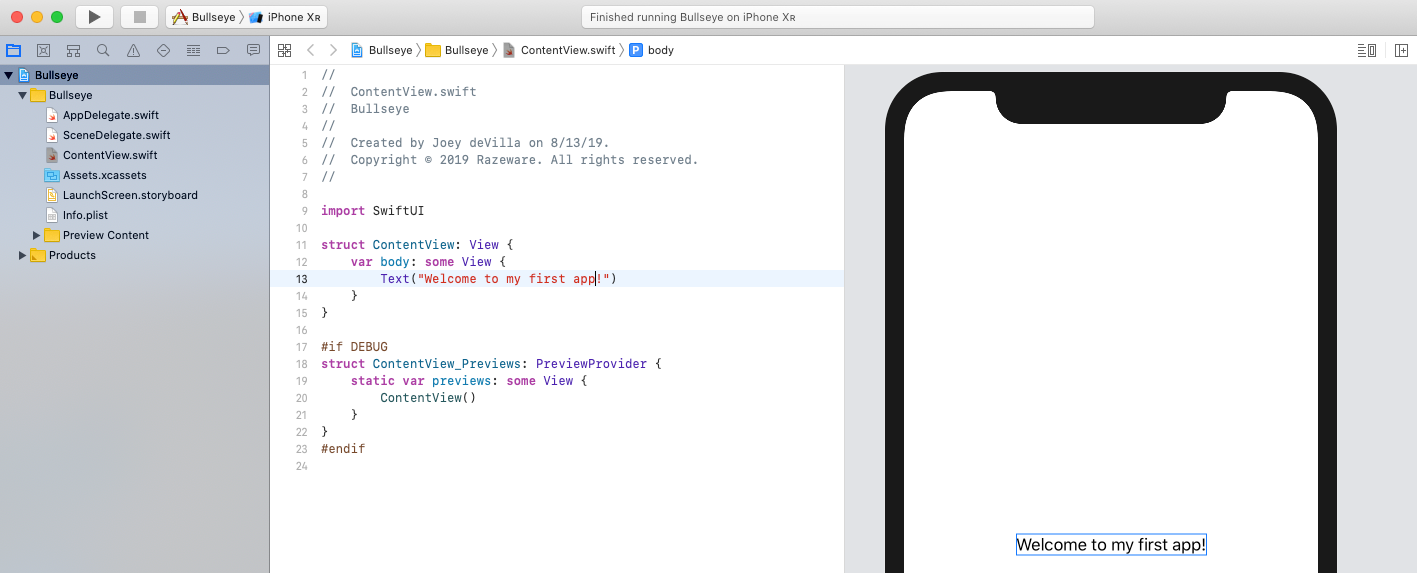 'Welcome to my first app!' in the Editor and Canvas