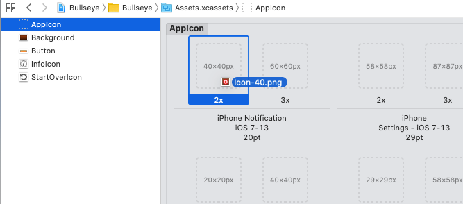 Dragging the icon into the asset catalog
