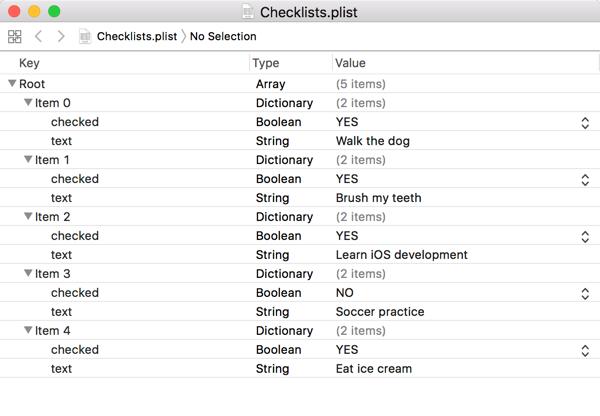 Checklist.plist in Xcode