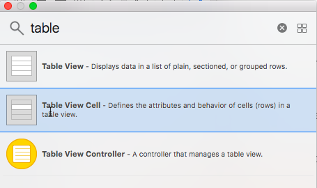 The Table View Cell in the Objects Library