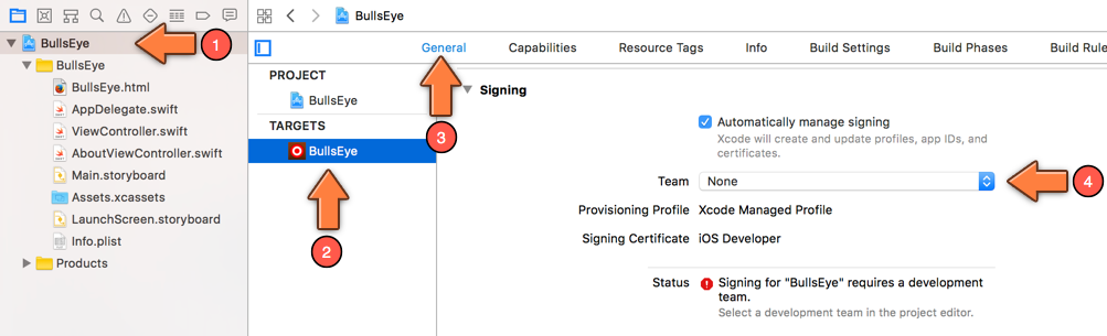 The Signing options in the Project Settings screen