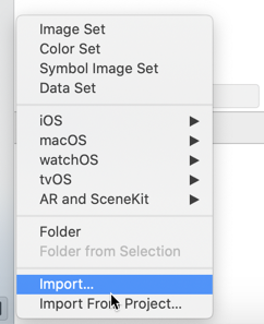 Choose Import to put existing images into the asset catalog