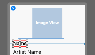The constraints for the Name label