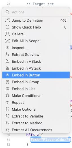Command-clicking on Text to reveal the pop-up menu and selecting 'Embed in Button'