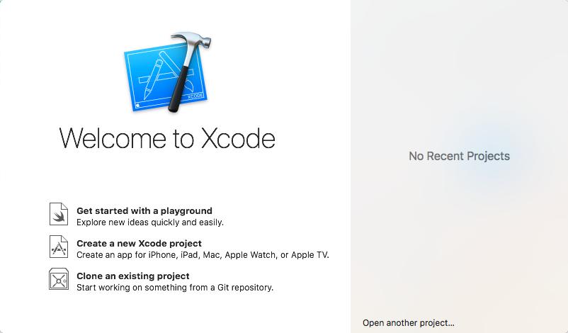 Xcode start screen