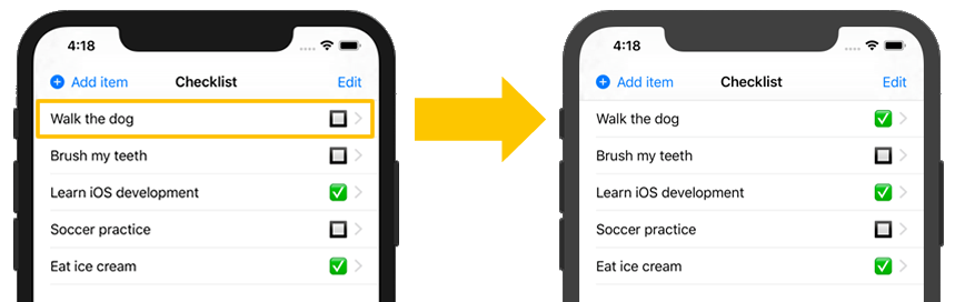 Tapping on a checklist item toggles its checked status