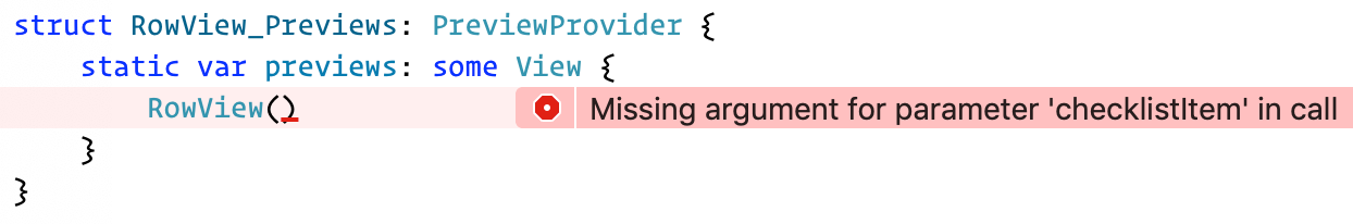 An error appears in the preview code