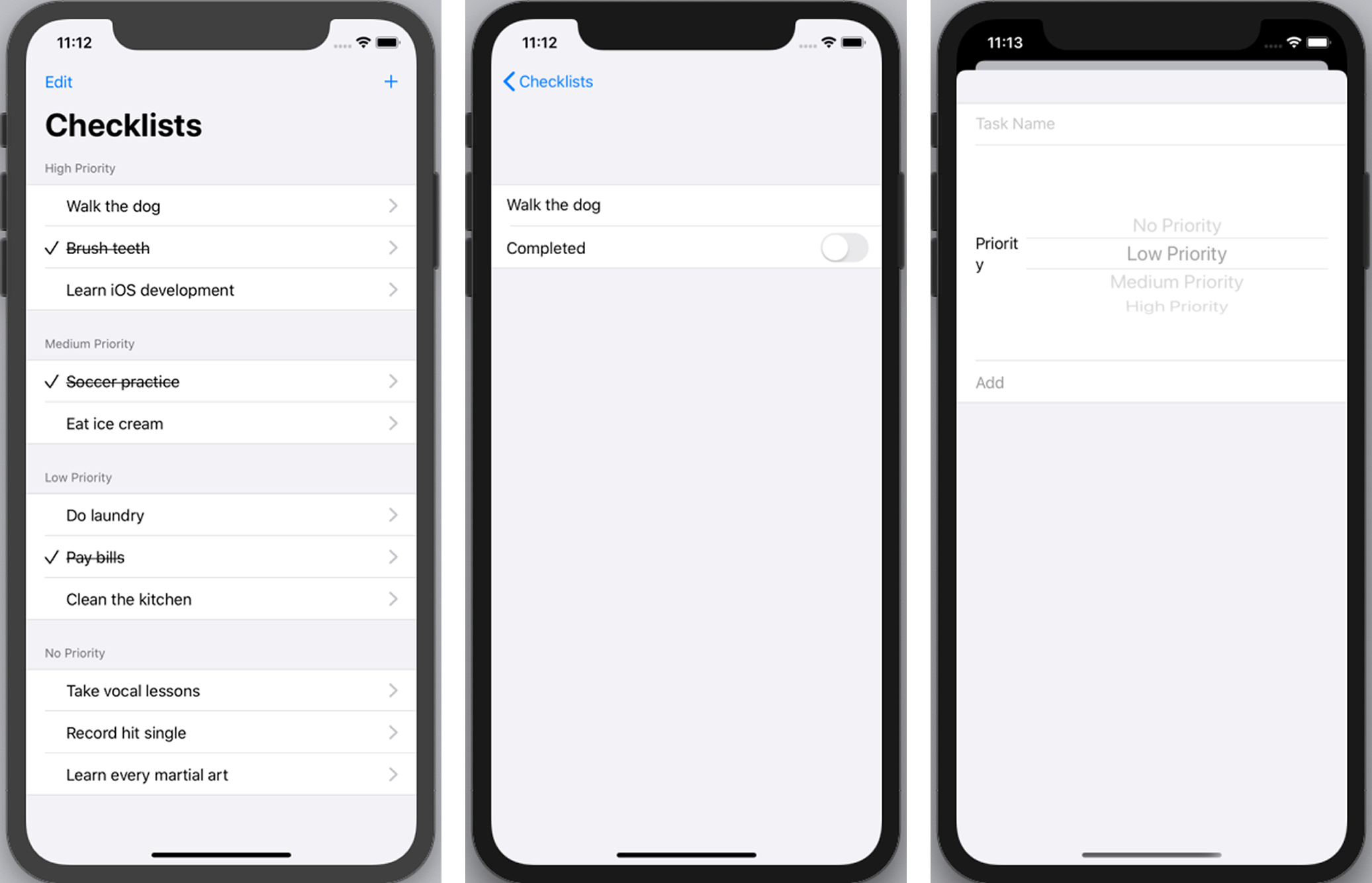 The finished Checklist app