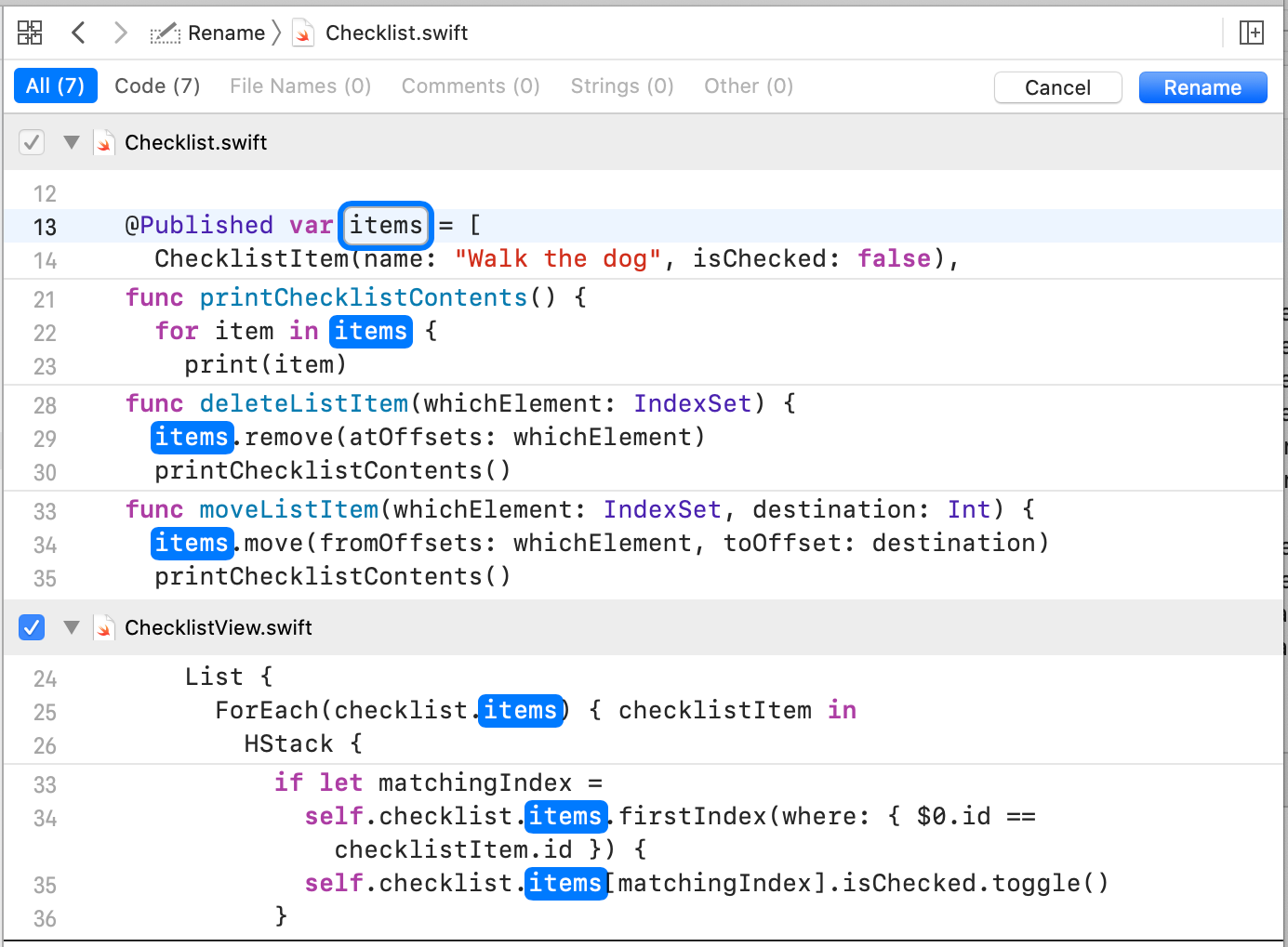 Renaming 'checklistItems' to ''items