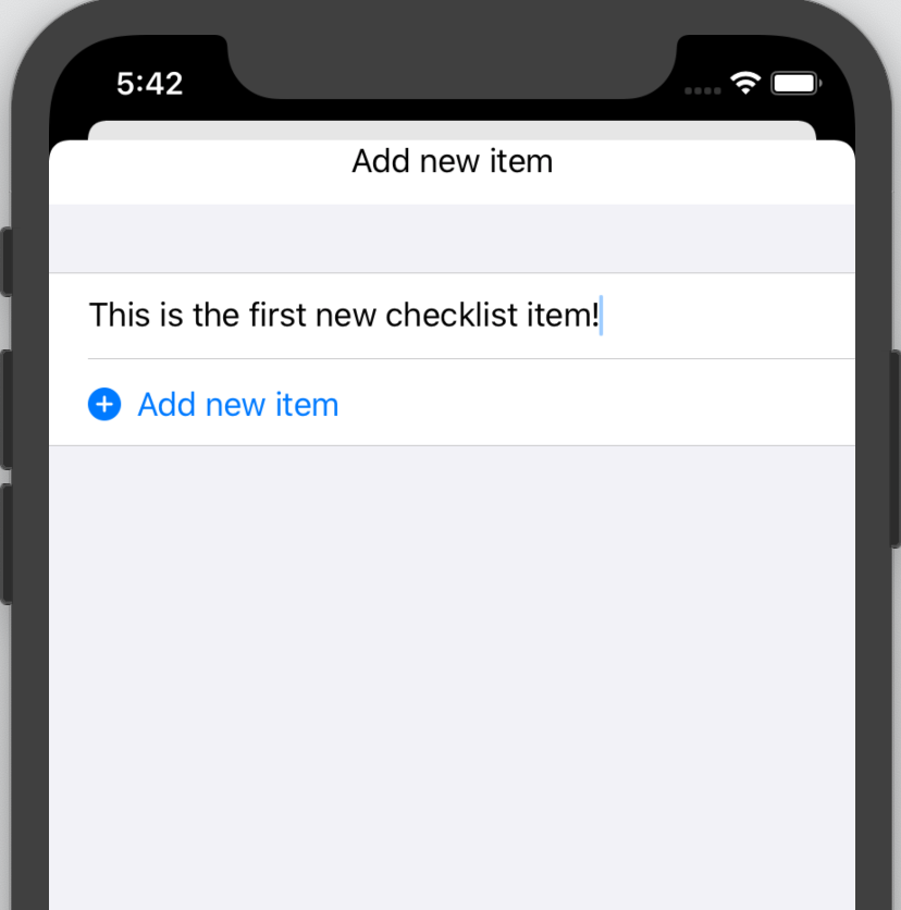 Entering the first new checklist item