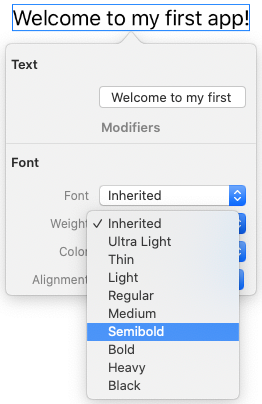 Choosing a new font weight for 'Welcome to my first app!