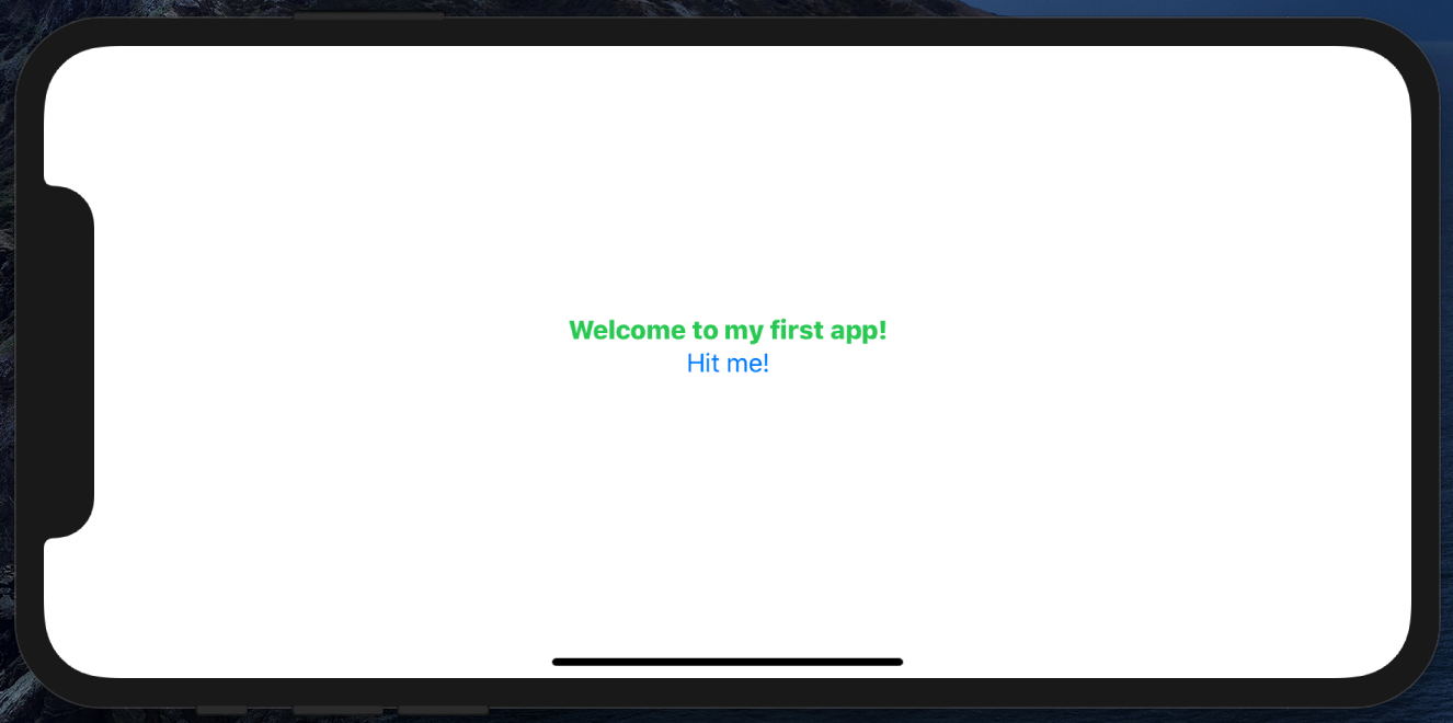 The app so far, in landscape orientation