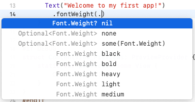 Code completion appearing when changing the font weight