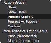 Choosing the type of segue to create