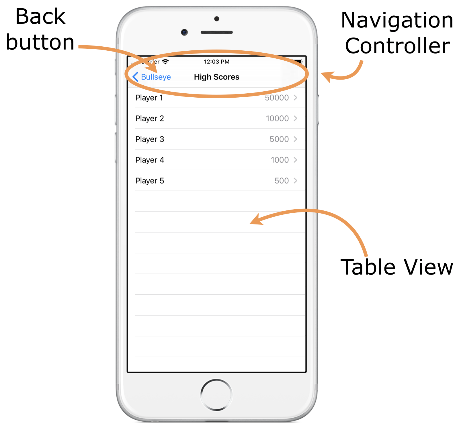 The grey bar at the top is the navigation bar. The list of items is the table view.