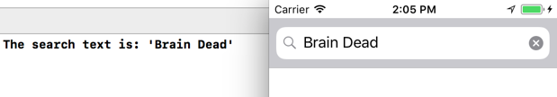 The search text in the Xcode Console