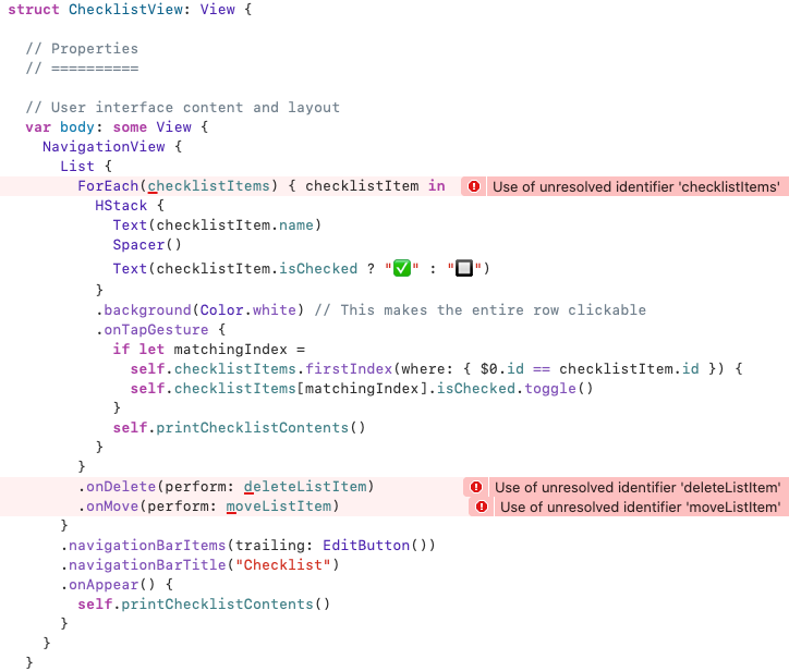 ChecklistView's code and error messages