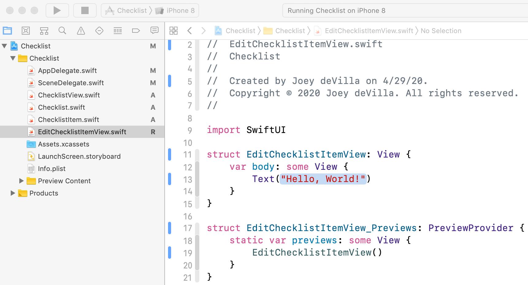 The new EditChecklistItemView.swift file, now below ChecklistItem.swift