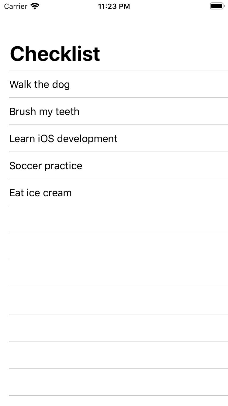 The list, using an array
