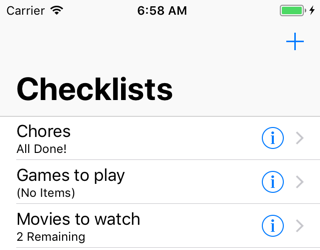 New checklists are always sorted alphabetically