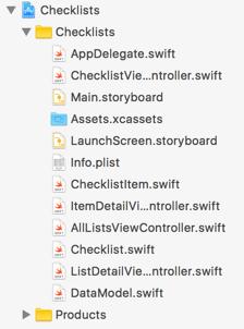 Project navigator file listing