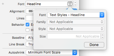 Changing the font to the dynamic Headline style